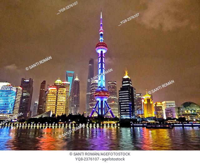 night view on Pudong skyline seen from the Bund, Shanghai, China