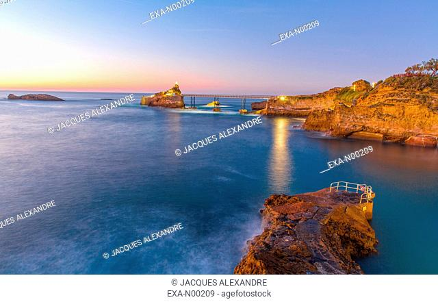 Rocher de la Vierge at evening, Biarritz, France