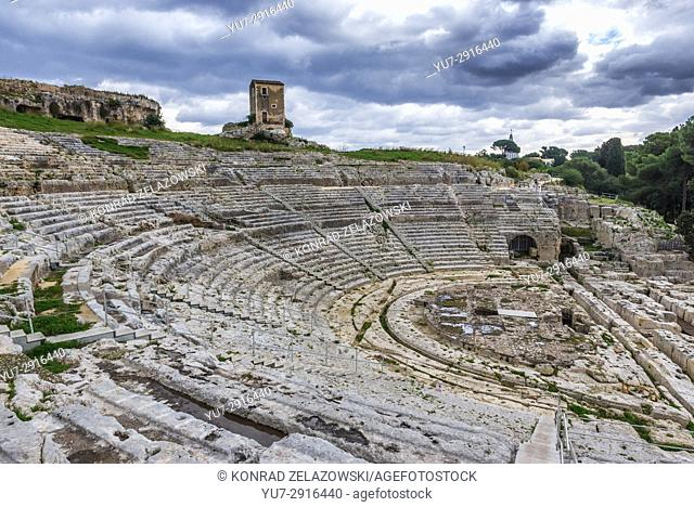 Ruins of ancient Greek Theater from 5th century BC in Neapolis Archaeological Park in Syracuse city, Sicily Island, Italy