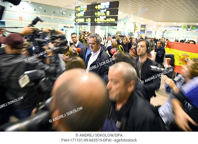 The former Catalan interior minister Joaquim Forn arrives in Barcelona, Spain, 31 October 2017. He has returned from Brussels