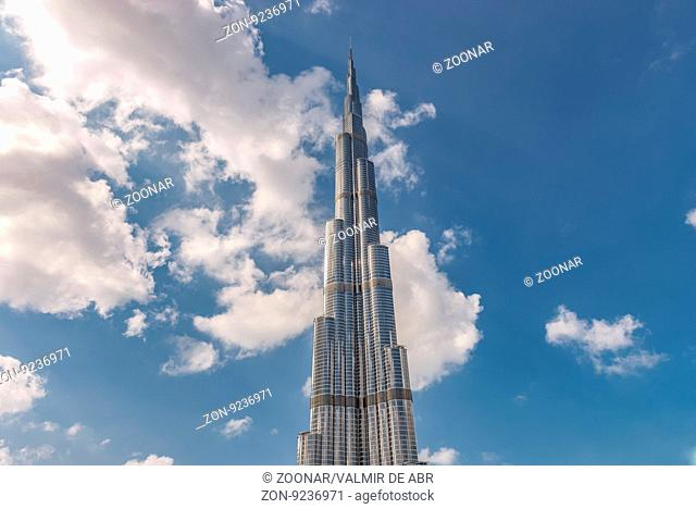 Dubai, United Arab Emirates - December 2, 2014: View of the Burj Khalifa, the tallest building in the world, at 828m. Located on Downtown Dubai