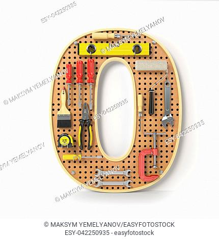Number 0 zero Alphabet from the tools on the metal pegboard isolated on white. 3d illustration