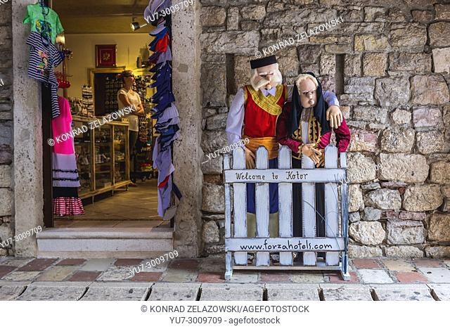 Gift shop in passuge of Sea Gate, main entrance to Old Town of Kotor coastal city, located in Bay of Kotor of Adriatic Sea, Montenegro