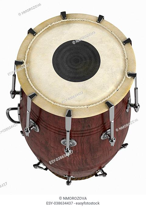 Double-headed hand-drum or Dholak, Dholki, Naal isolated on white background