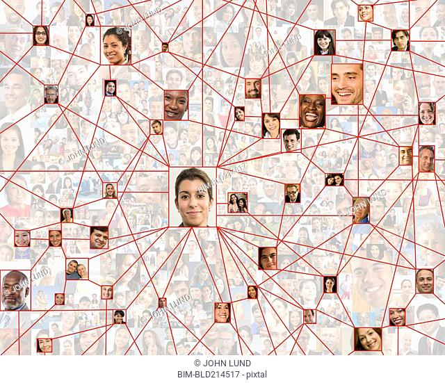 Smiling faces in connected in social network web