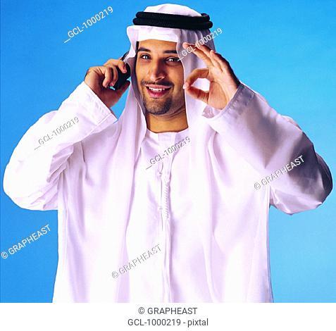 Arab man on cell phone
