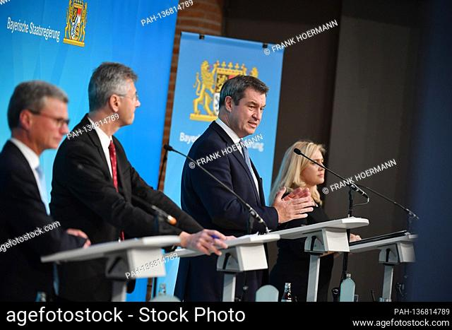 From left: Bernd SIBLER (Art and Science Minister), Michael PIAZOLO (Education Minister), (Markus SOEDER (Prime Minister Bavaria and CSU Chairman)