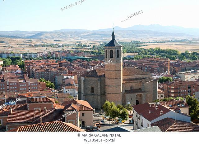 Modern city from the top of the City Wall. Ávila, Castilla León, Spain