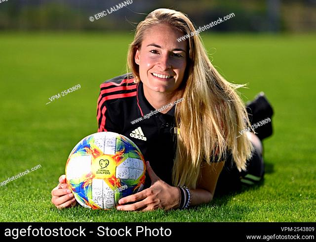 Red flames Tessa Wullaert poses for the photographer at the Royal Belgian Soccer Union, in Tubize, Monday 14 September 2020...BELGA PHOTO ERIC LALMAND