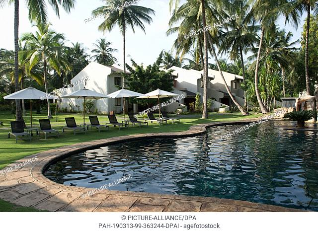18 February 2019, São Tomé and Príncipe, Bom Bom: The pool and the buildings with the guest rooms of the Hotel Omali Lodge of the HBD Group (Here Be Dragons)