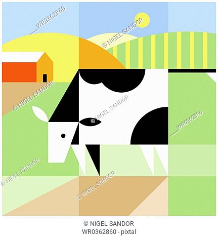 cow and farm
