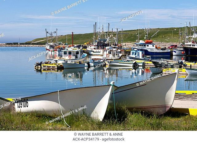 Fishing boats tied up at the wharf in Old Perlican, Newfoundland and Labrador, Canada