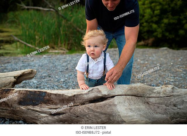 Man with toddler son toddling on beach, Lake Ontario, Canada