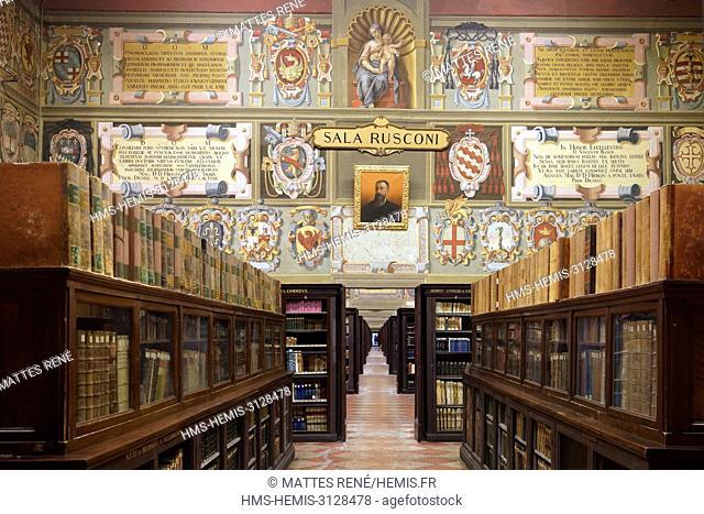 Italy, Emilia Romagna, Bologna, Historical center, Piazza Galvani, palace Archiginnasio architect Antonio Morandi said he Terribilia dating from the 16th...