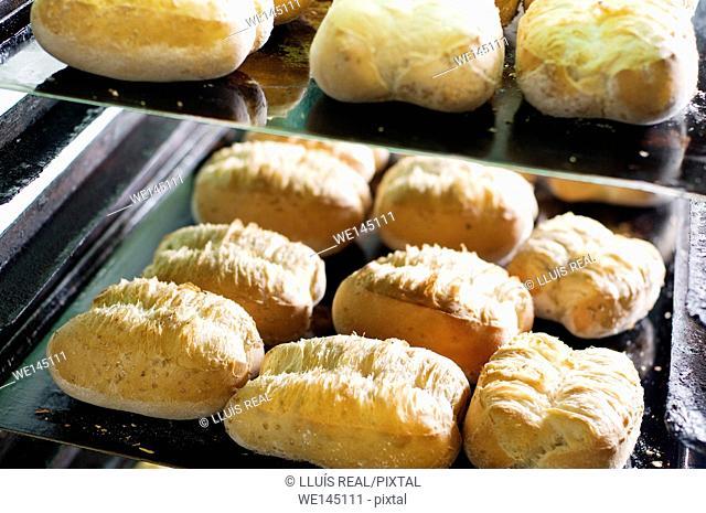 Artisan bread in a bakery, llonguet