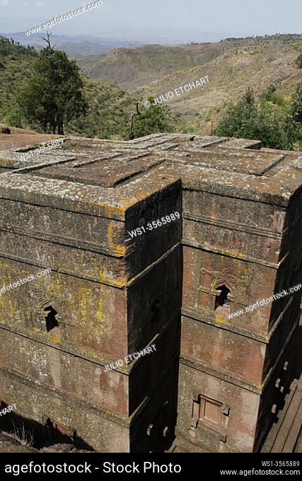 The ancient sunken rock-hewn church of St. George in Lalibela, Ethiopia