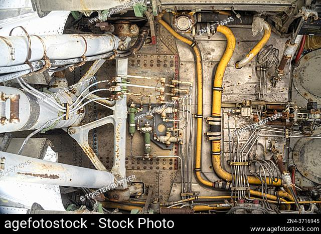 Main Landing Gear Interior of the large Soviet Turboprop Airliner Ilyushin Il-18 at Erfurt Air Show, Germany