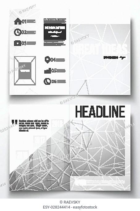 Set of business templates for brochure, magazine, flyer, booklet or annual report. Molecular construction with connected lines and dots