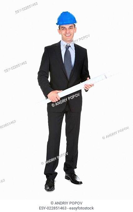 Male Architect Holding Blueprints