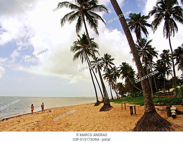 two people walking at bahia beach shore