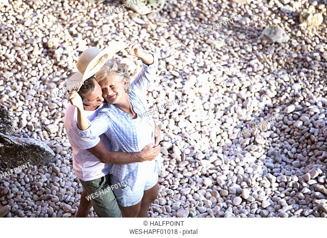 Top view of senior couple on the beach