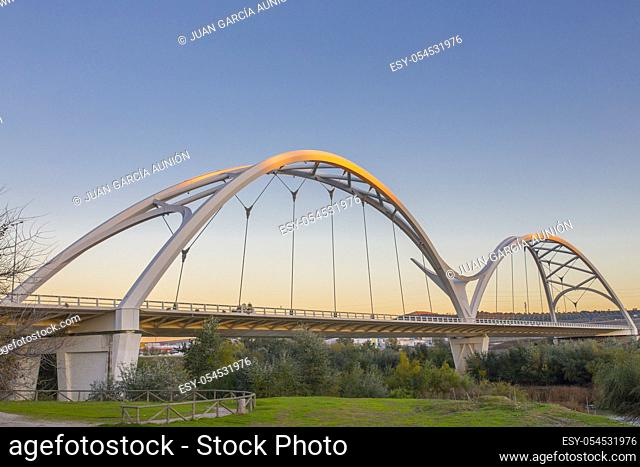 Ibn Firnas Bridge, Cordoba, Spain. View from river Guadalquivir bank
