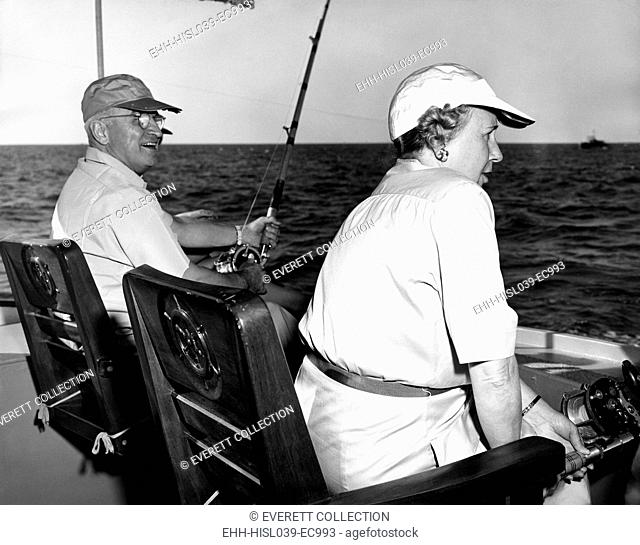 President Harry and Bess Truman Fishing near Key West, Florida, Dec. 2, 1949. They spent 11 working vacations, 175 days in all