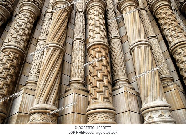 England, London, Kensington, Close up of ornate stone columns on exterior of the Natural History Museum