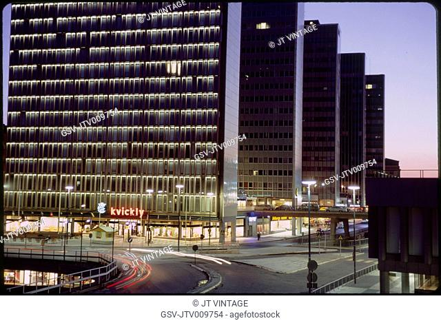 Row of Modern Office Buildings at Dusk, Stockholm, Sweden, 1966