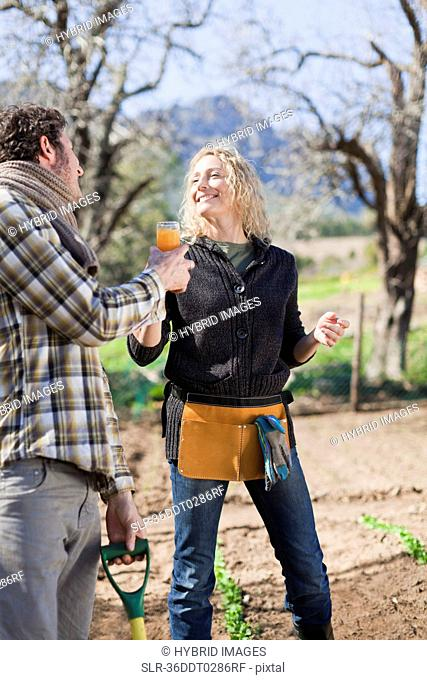 Couple drinking juice and gardening