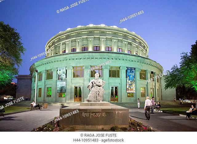 Armenia, South Caucasus, Caucasus, Eurasia, Yerevan, building, city, downtown, opera, round, statue, night, terrace