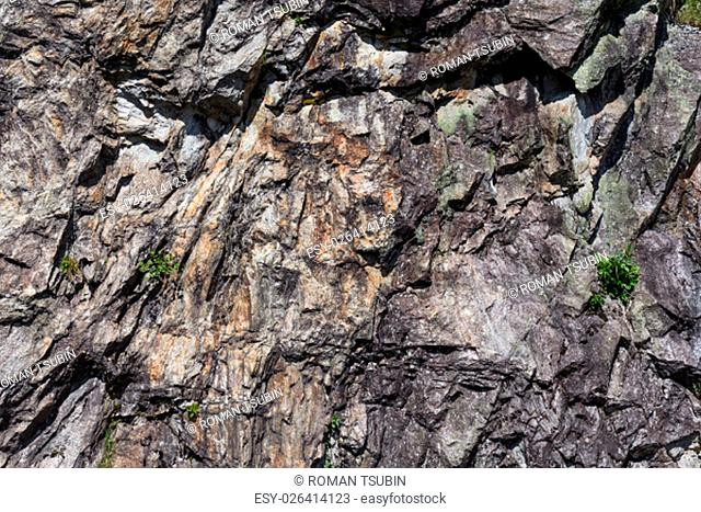 Closeup of a sedimentary mountain limestone rocks texture