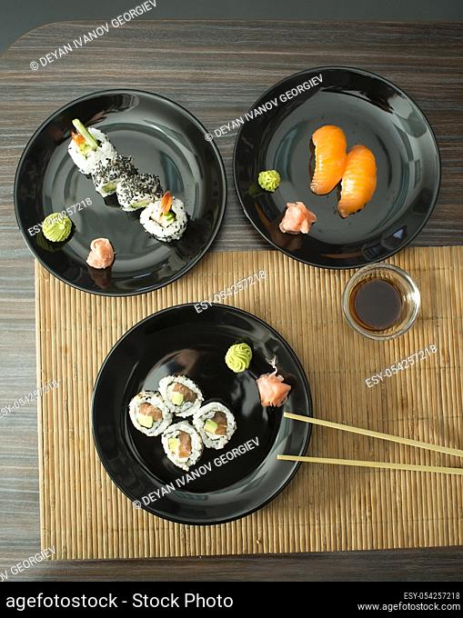 Plate of sushi in restaurant