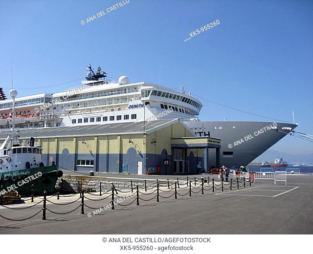 Passenger terminal in Gibraltar harbour,Atlantic ocean