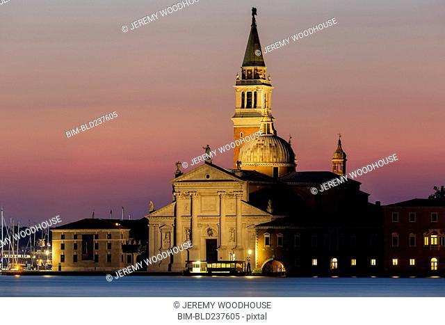Church of San Giorgio Maggiore at dawn, Venice, Veneto, Italy