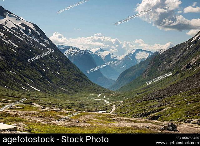 gamle strynefjellsvegen one of the most beautifull auto roads in norway with snow in summer