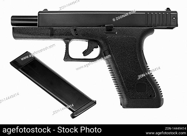 Isolated picture of a Glock 17 pistol on white background