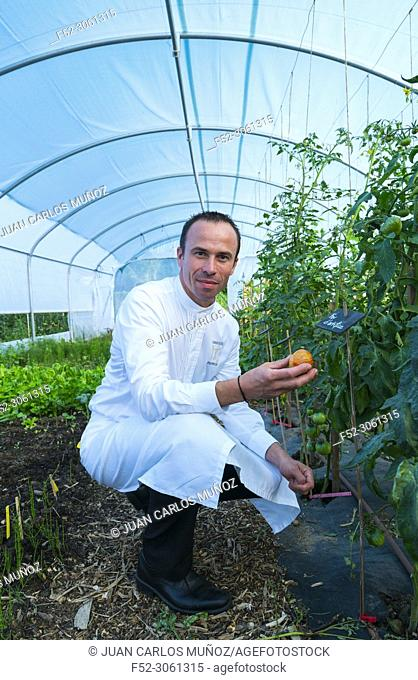 Chef Christophe Hay at Vegetable Garden of his restaurant, La Maison d'à côté Restaurant, one-star Michelin, Montlivault Village, Loir-et-Cher Department