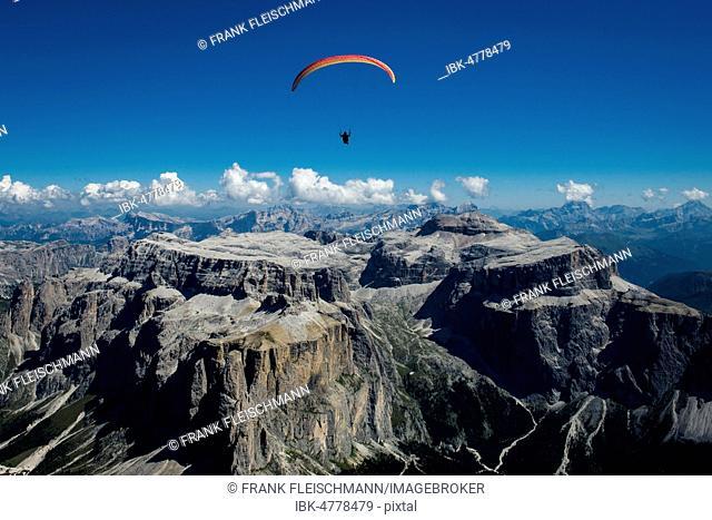 Paragliding, Dolomites, Sella Group, Sass Pordoi, Piz Boe, Fassa Valley, aerial photo, Trentino region, Canazei, Campitello, Italy
