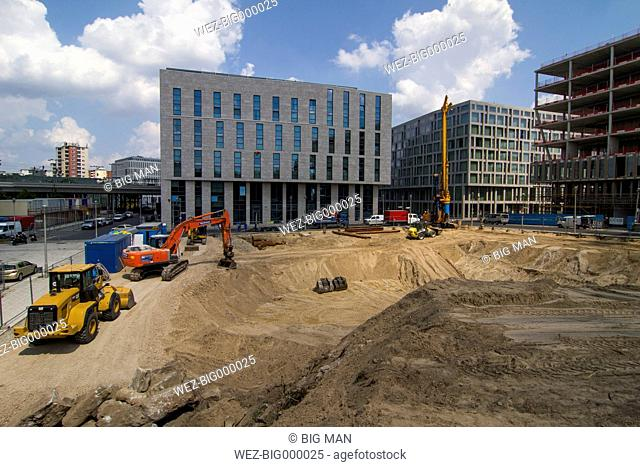 Germany, Berlin, view to excavation near central station