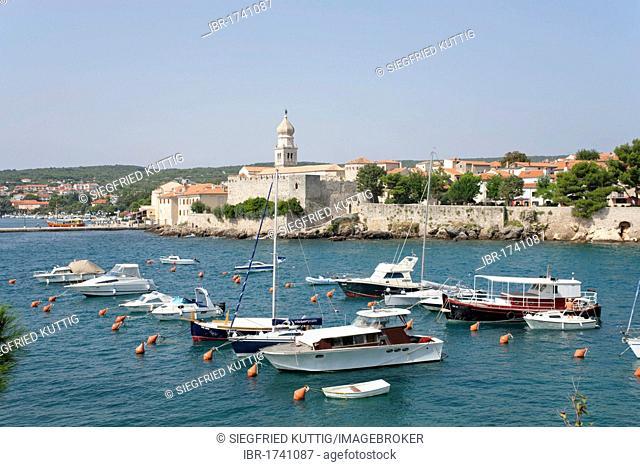 Marina of Krk Town on the Island of Krk, Kvarner Bay, Adriatic Coast, Croatia, Europe