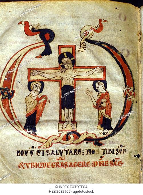 Crucifixion. Miniature in the 'Missale parvum', manuscript on parchment, c. 1075 - 1100
