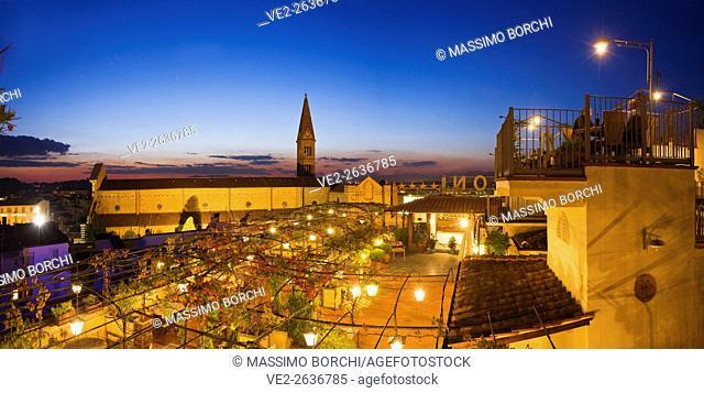 Italy, Toscana (Tuscany), Firenze (Florence) . The terrace of Hotel Baglioni and Santa Maria Novella church