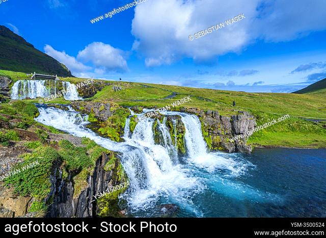 Kirkjufellsfoss, waterfall near the mountain of Kirkjufell, Snaefellsnes Peninsula, Iceland