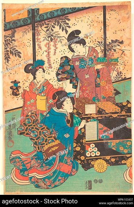 Print. Artist: Utagawa Kunisada (Japanese, 1786-1865); Period: Edo period (1615-1868); Culture: Japan; Medium: Polychrome woodblock print; ink and color on...