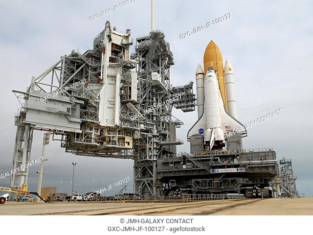 CAPE CANAVERAL, Fla. - Space shuttle Atlantis sits on Launch Pad 39A at NASA's Kennedy Space Center in Florida after rollout from the Vehicle Assembly Building