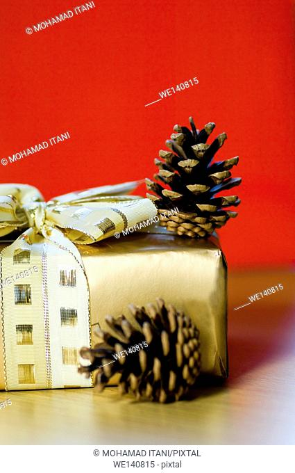 Golden gift box with two pine cones on a red background