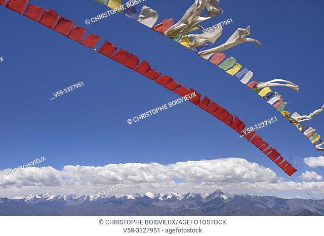 India, Jammu & Kashmir, Ladakh, Prayer flags and Stok Kangri range near Khardung La pass (5359 m)