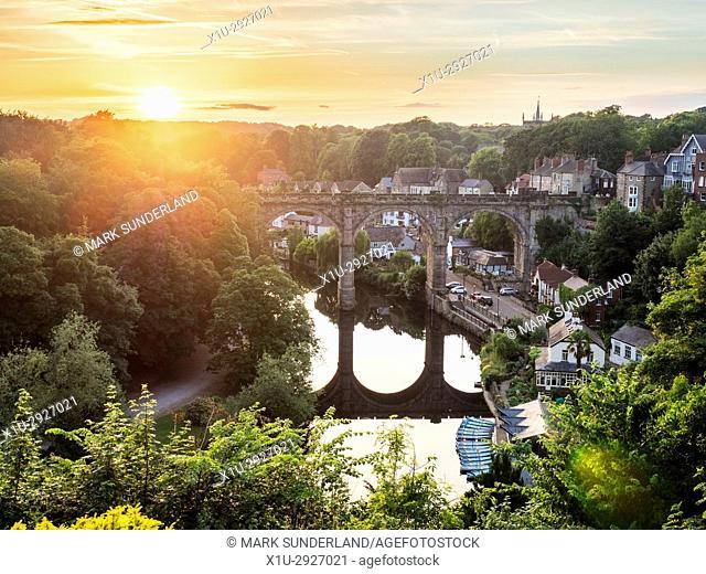 Railway Viaduct over the River Nidd at Sunset Knaresborough Yorkshire England