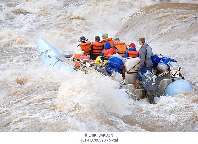 People white water rafting, Colorado River, Moab, Utah, United States